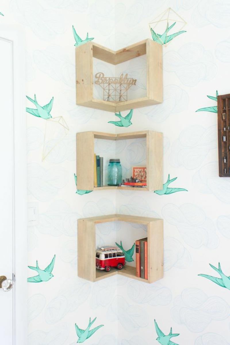 Build your own wall shelf Instructions DIY corner shelves build craft ideas