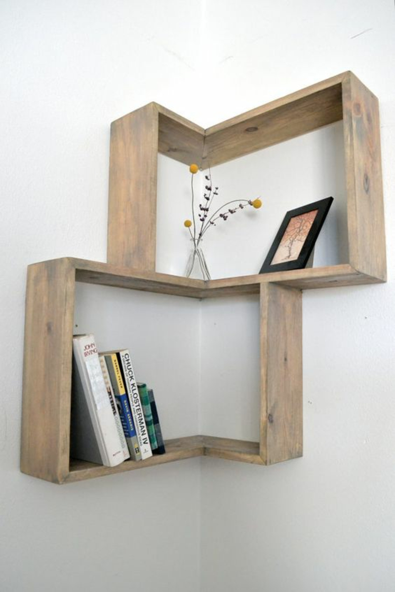 Build wall shelf yourself Instructions DIY corner shelves