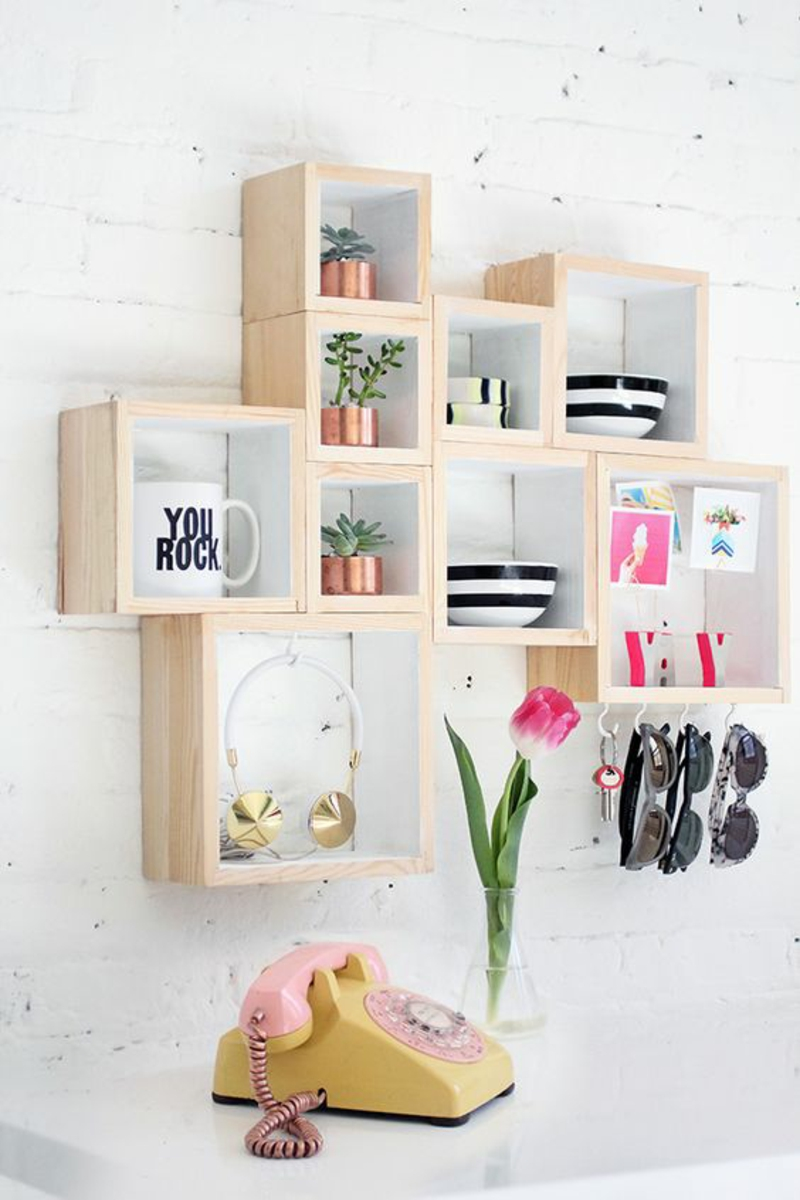 Build wall shelf yourself Instructions DIY wooden boxes Rule build