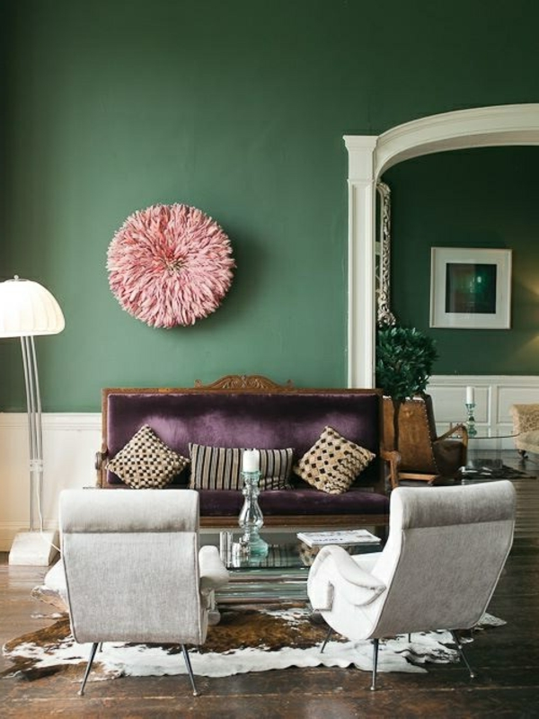 attractive living room green wall paint