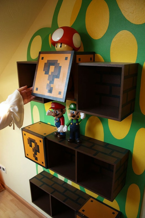 book shelves in the nursery by super mario design