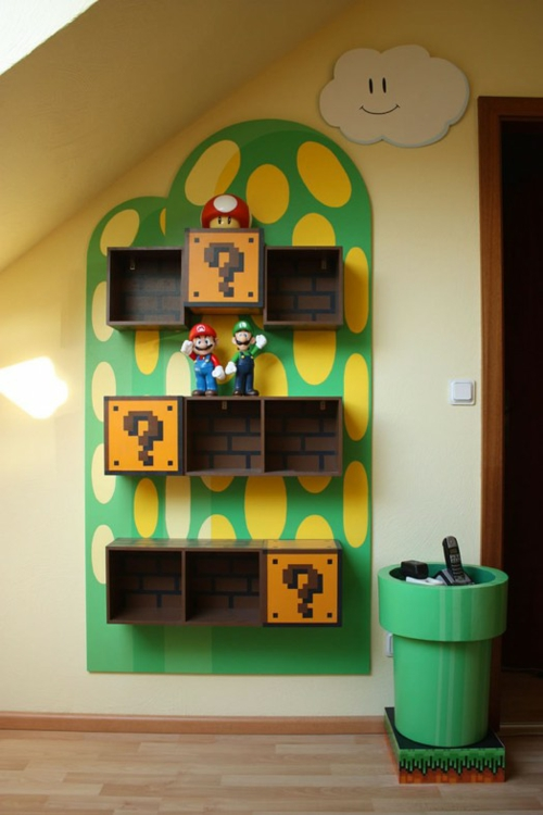 book shelves in the nursery inspired by super mario