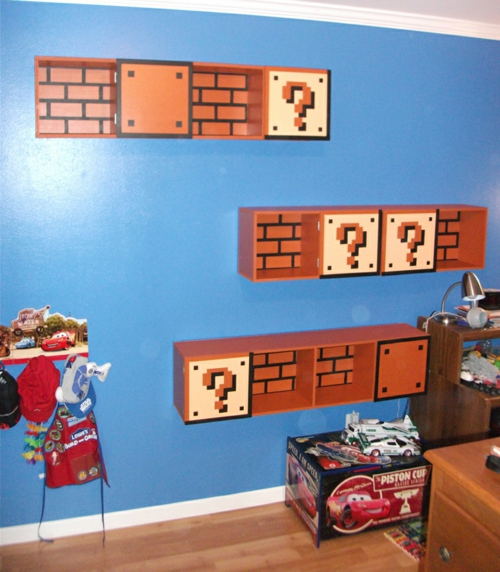 books shelves in the nursery of super mario wall