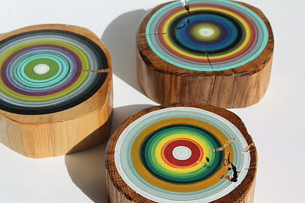 Tree rings bunch painted wall decoration wood