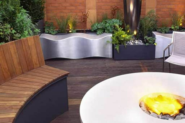 Cool Roof Terrace Designs Wood Stool Bench