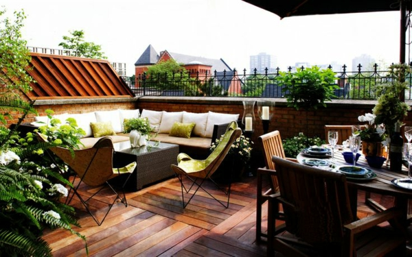 roof terrace frame wood tiles table seating area