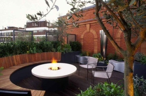 Roof terrace furnishing cool wood bench hearth