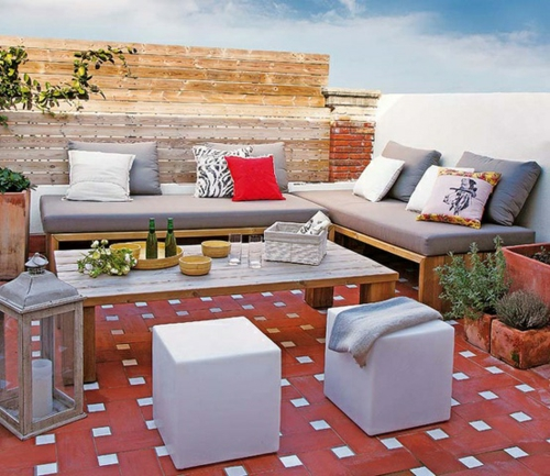 Roof terrace furnishing cool wood privacy cushions