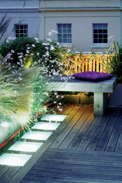 Roof terrace facility cool wooden bench wood deck light plants