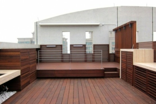 Roof terrace facility cool wood deck
