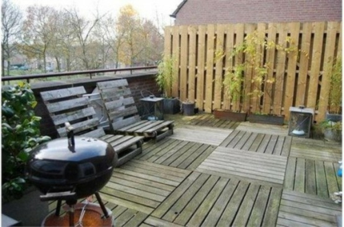 Roof terrace facility cool wooden deck wood tiles grill