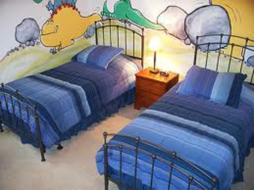 gorgeous kids room design two kids blue wall painting