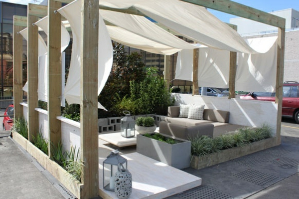 wood pergola build on the roof terrace