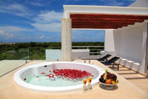 ideas for roof terrace design jacuzzi lie relaxation corner