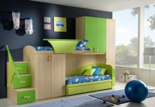 children's room gorgeous green black wall two children's bunk bed changing table