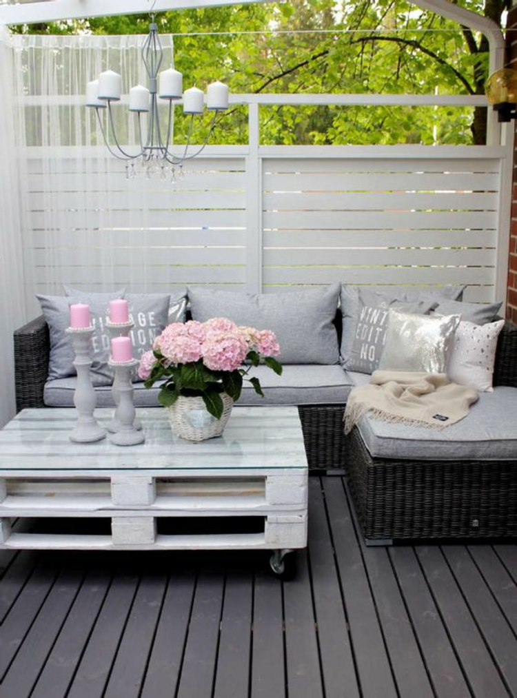 modern terrace design pictures balcony furniture DIY table to build from pallets