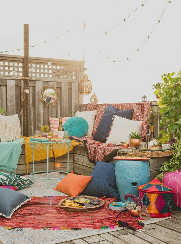 modern terrace design pictures balcony furniture colorful cushions