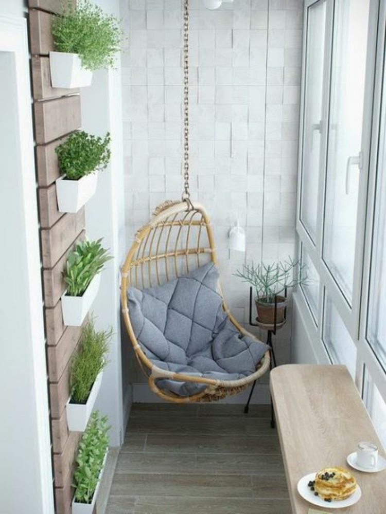 modern terrace design pictures hanging basket chair vertical garden