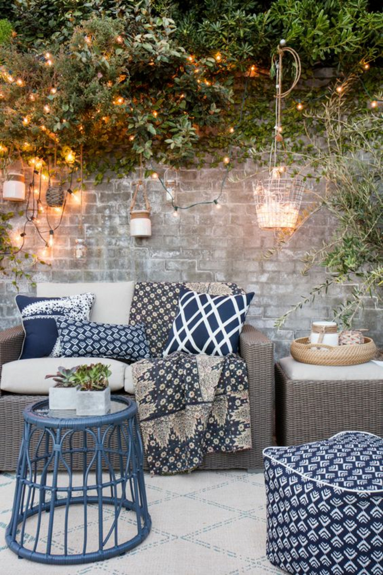 modern patio design images rattan furniture sofa pillow fairy lights
