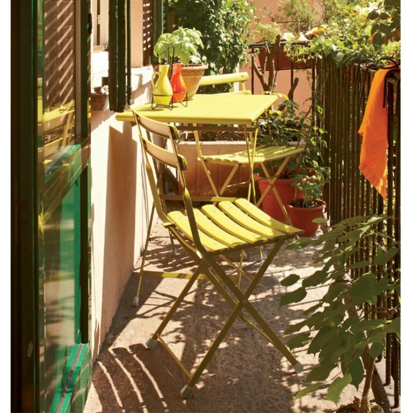 practical balcony ideas colorful yellow motive chair folding table