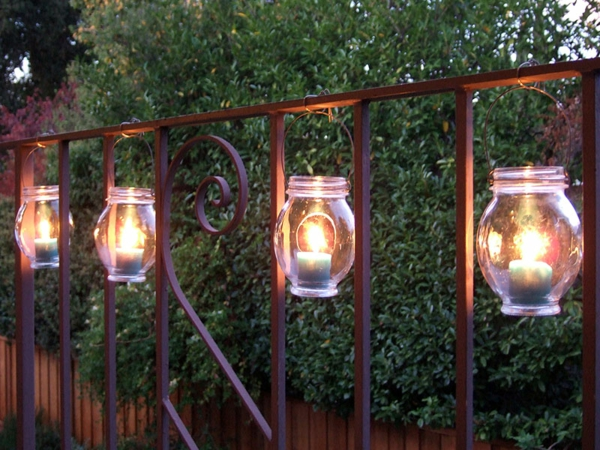 practical balcony ideas wood lights candles