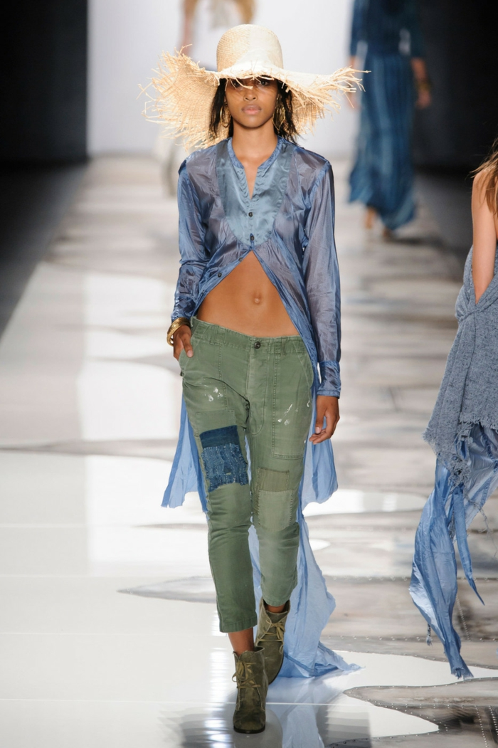 summer fashion women's fashion ladies greg lauren 2016 military pants tight blue see through long straw hat