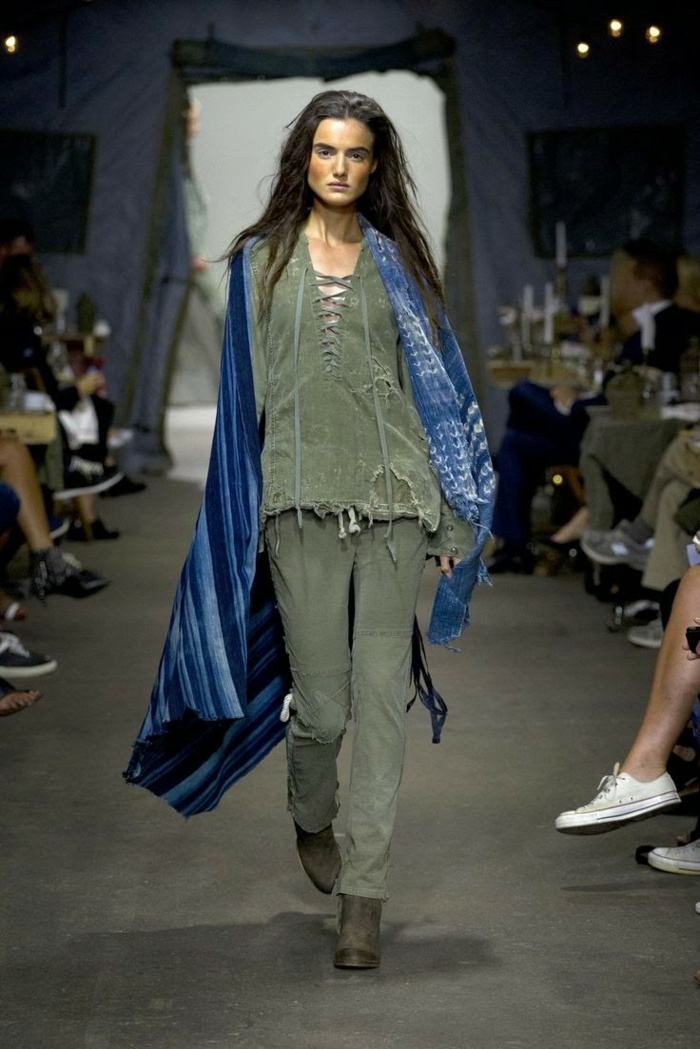 summer fashion women's fashion ladies greg lauren 2016 soldier green distressed top pants poncho stripes