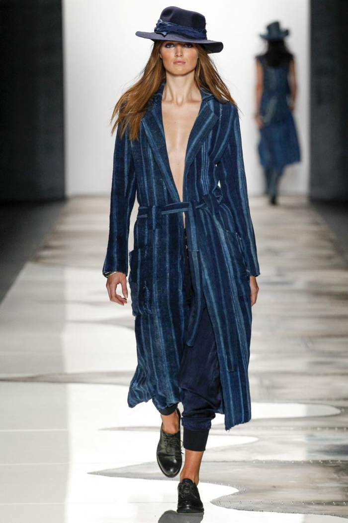 summer fashion women's fashion ladies greg lauren collection 2016 trench coat hat dark blue stiff