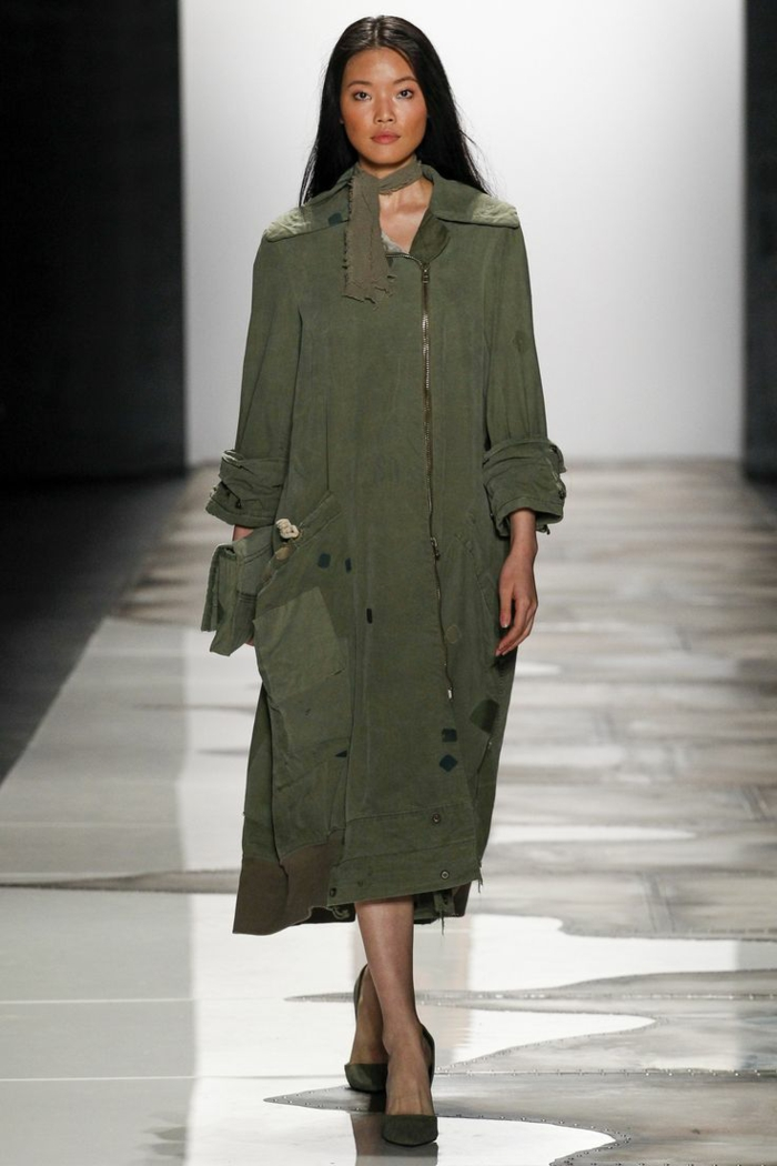summer fashion women's fashion ladies greg lauren weiter coat soldier green military