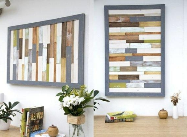 wall design with wood wall art DIY art colorful texture