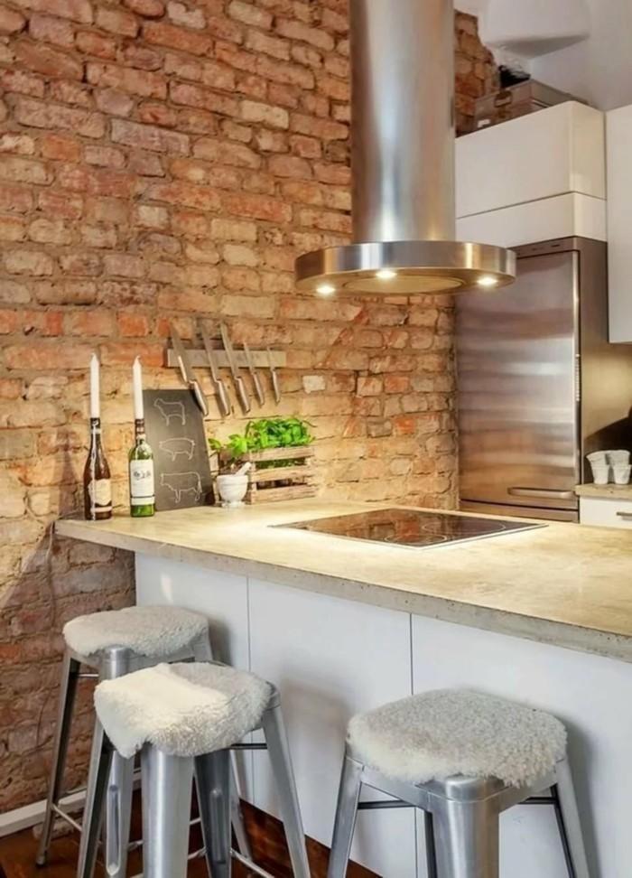 جدار من الطوب - 9 فكرة عن كيفية تحسين المطبخ الحديث